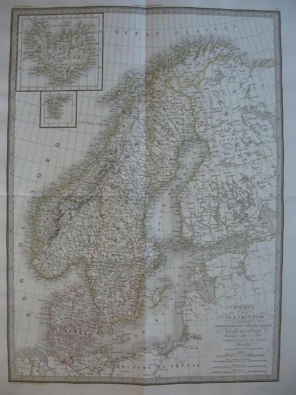 1830 - LAPIE - Large map  SCANDINAVIA & ICELAND Sweden Norway Finland Denmark