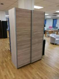 Beech 2 door sliding wardrobe with shelves and hanging rails