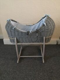 Blue and grey baby Noah pod basket and stand