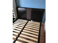 """Faux Leather & Suede Double Bed Frame 4' 6"""""""