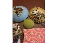 Lace making set including 3 x Pillows beaded bobbins