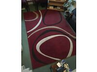 Dunelm Mill Red Supersoft Ribbon Rug Carpet - Large 230 x 160 cm - Good Condition - Made in Belgium