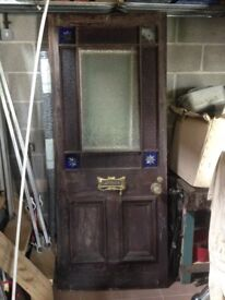 "34"" x 82"" large Victorian coloured glas door with star bursts and brass fitings"