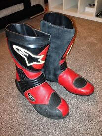 Alpinestars gps red / black leather motorcycle boots in size euro 39.
