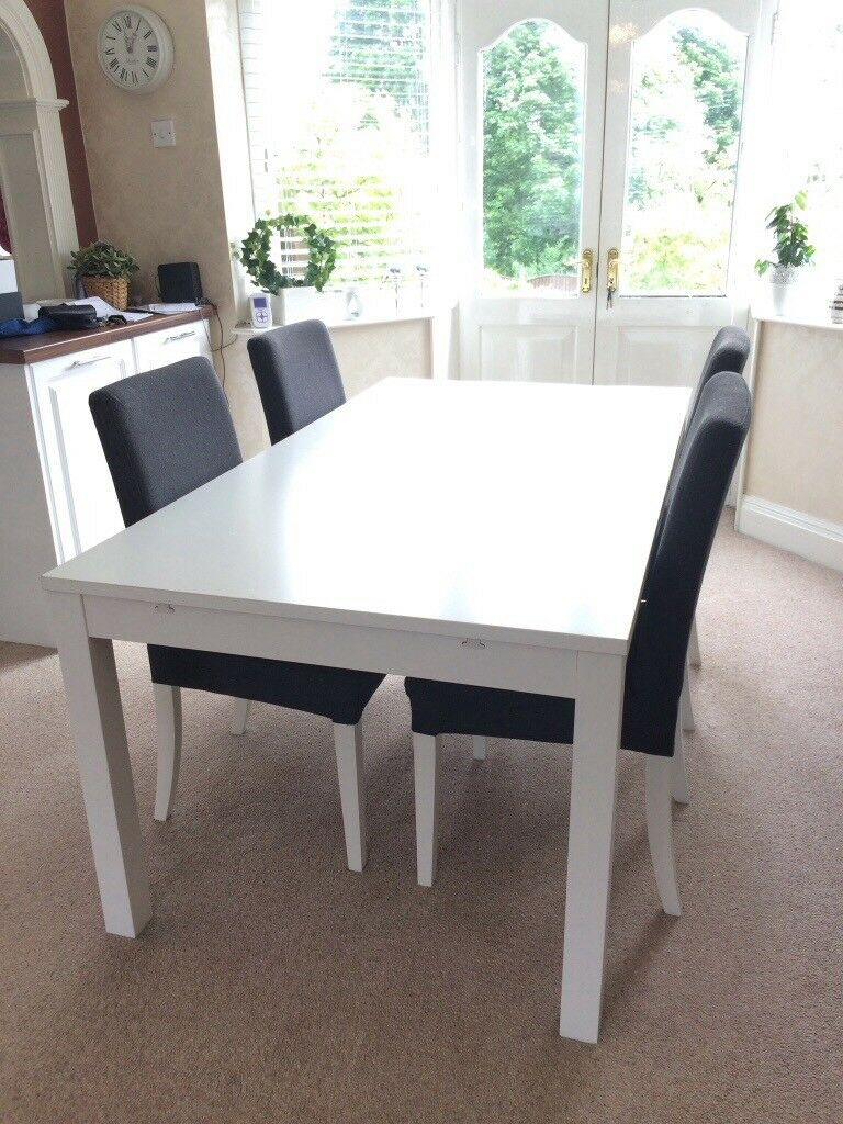 Bjursta Ikea White Extendable Dining Table And 4