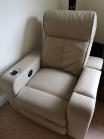 Immaculate condition leather reclining, massaging and heating premium cinema chair