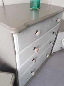Two tone grey drawers with real pebble drawer pulls