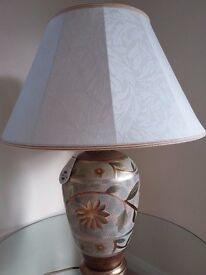 Stylish table lamp, cream lampshade. Base height 50cm. Bronze, cream, blue, brown colours £20 ovno