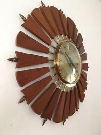 Vintage Retro Anstey & Wilson Teak and Brass Sunburst Clock