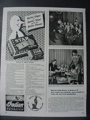 1947 Star Razor Blades + Indian Motorcycle Vintage Print Ad 12686