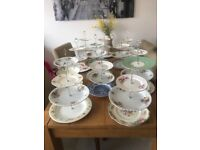 Choice of 13 three tier vintage cake stands