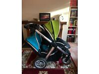 Oyster max2 pushchair tandem +2 carseats+ raincover