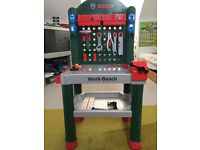 Bosch toy workbench with extra tool box, electric drill and accessories