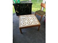 Ceramic and Wood Coffee Table with Brown and Cream Geometric Pattern c.1970s
