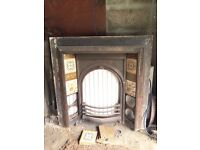 **LOVELY VICTORIAN FIRE PLACE INSET WITH ATTRACTIVE TILE FEATURE- lovely feature-grab a bargain **