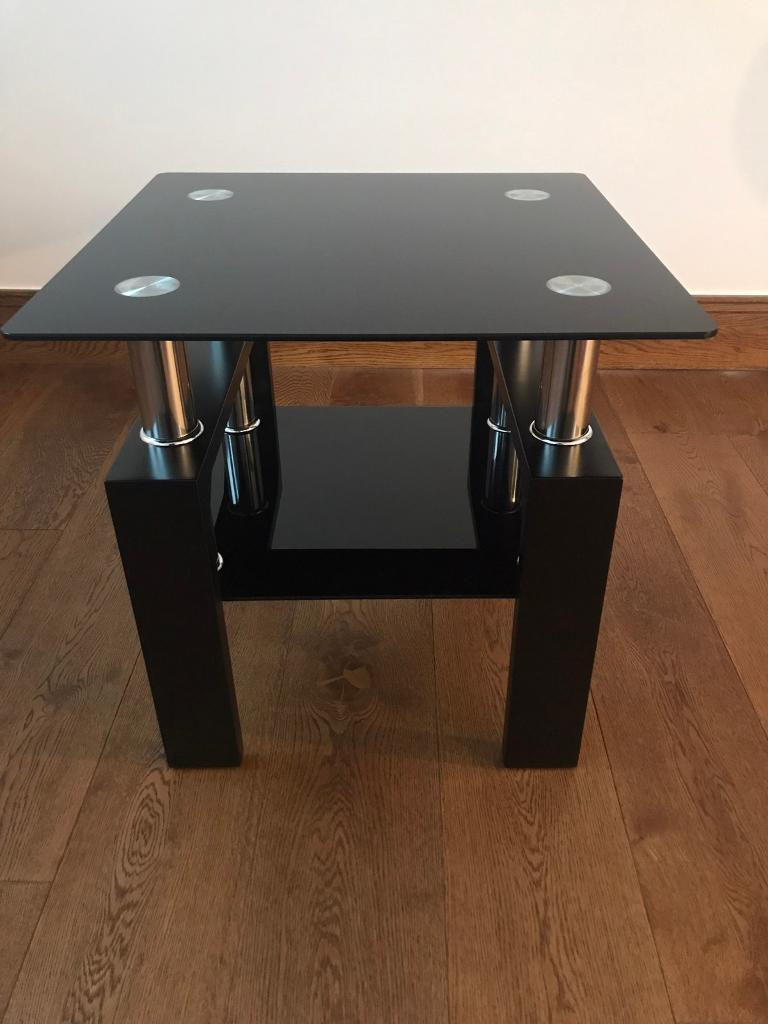 Square Black Glass Coffeesideend Table With Black Legs In