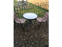 Garden table and chairs bistro set rattan look