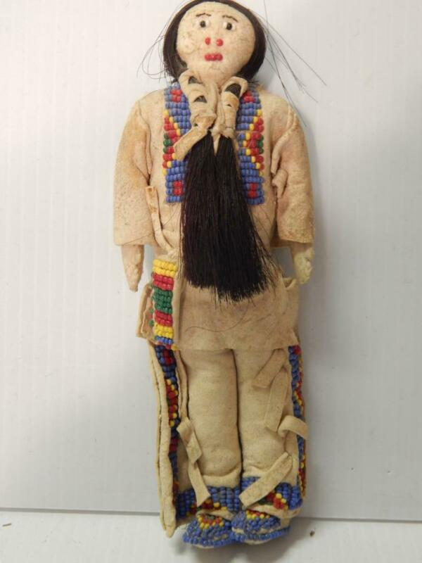 VINTAGE LAKOTA SIOUX PLAINS INDIAN MALE WARRIOR DOLL BEADED HIDE CLOTHING