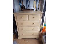 Chest of Drawers - Indonesian Wood - Distressed Wood in Sand Colour