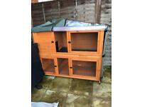 Double rabbit/guinea pig hutch cage