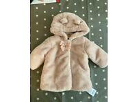 Brand new with tags baby fur coat 3-6 months