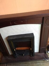 Electric heater fireplace and mantlepiece