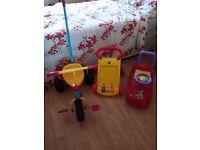 Baby/toddler trike+walker+car