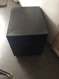 Black filing cabinet with key