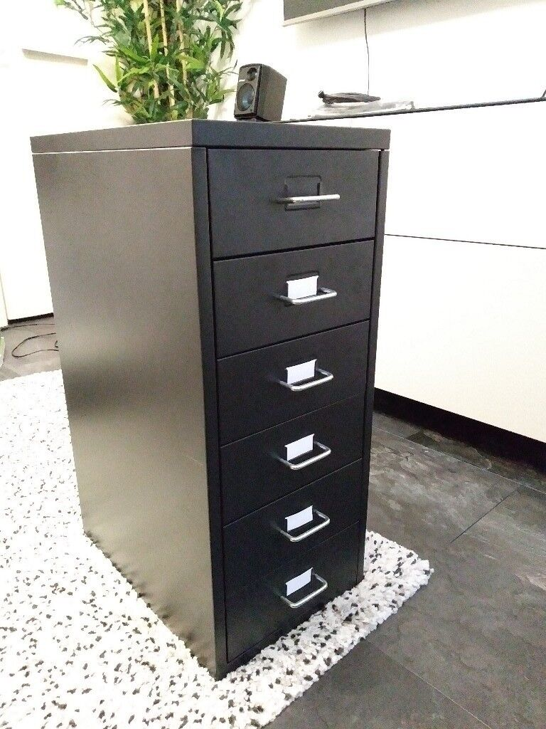 Black IKEA HELMER storage filing drawers unit organiser for study etc.