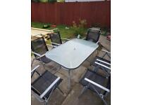 *SOLD PENDING COLLECTION* Garden table & 6 folding chairs