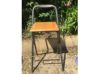 Foldable high stool. Solid wood and grey metal. Useful extra for the kitchen or the garage
