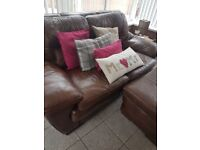 2 seater brown Leather sofa with pouffe