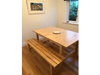 Ikea extending table and 2 benches ..