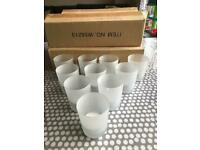 Frosted glass votive / tea-light / small candle holders x 40