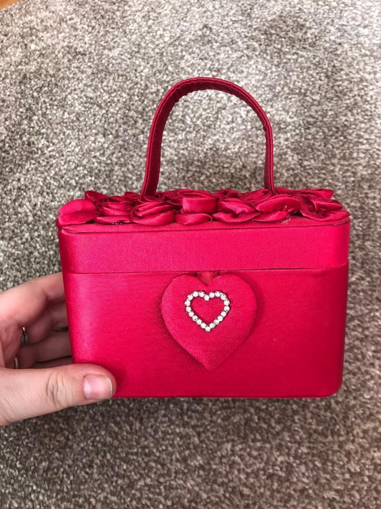 Red satin box handbag