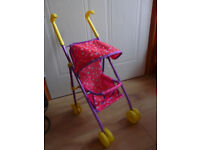 PEPPA PIG TOY PUSHCHAIR IN PINK WITH 2 SOFT BODIED DOLLs - IMMACULATE! Suit Toddler / small child
