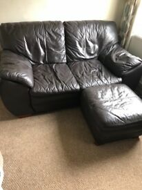 2 Seater Leather Sofa with footstool