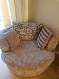 Large 2 seater brown corded sette with large swivel love chair DFS excellent condition