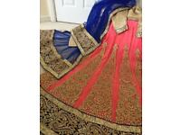 Gorgeous peach and blue full length fit and flare lengha dress with dupatta, party/wedding.