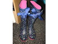 Polka dot wellies size UK1