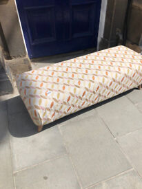 Large Footstool , modern fabric and colours . Size L 56in D 22in H 17in. Free Local Delivery
