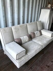 Gorgeous Modern Beige/Cream Suede Click Clack Sofabed. Excellent Condition. Can Deliver.