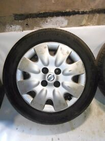 Nissan Micra 4x100 14'' wheels SPARE WHEEL covers and tyres 165/70/14 175/70/14 195/60/14