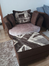 2 Seater sofa Tower of London swivel love seat, with matching Union Jack foot cushion