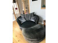 Large Round Cuddle Chair with Footstool.