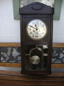 Vintage/Antique,Oak Cased,Pendulum,Chiming Wall Clock. Standing 31 Inches High.