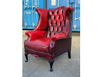 Beautiful Chesterfield Oxblood Leather Queen Anne Chair