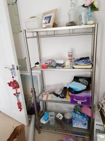 John lewis glass and stainless steel shelving unit