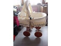 large baby crib big wheels only been used for displaying a reborn doll in it