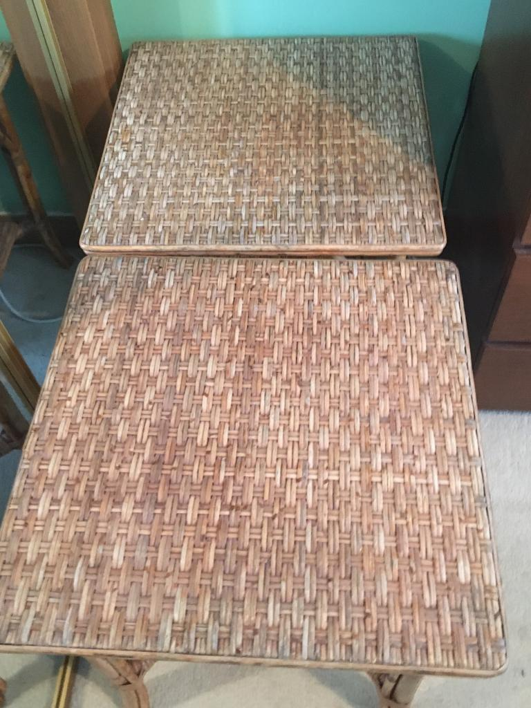 Pair of wicker rattan tables - £15 for the pair